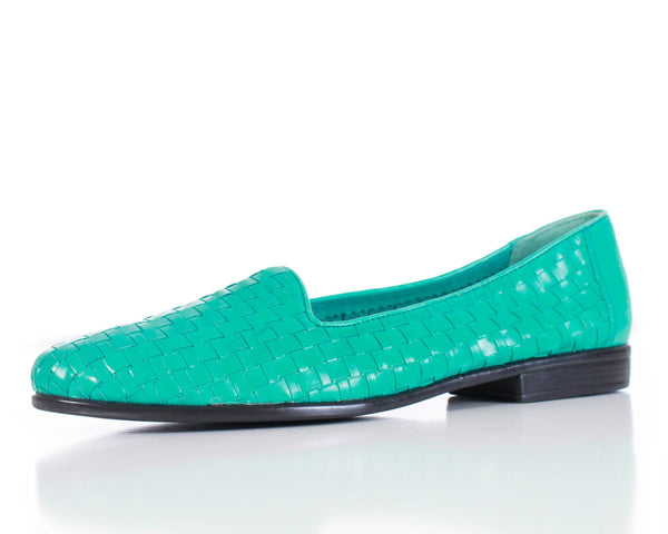 Woven Turquoise Leather Loafers Women's Flats Size 8 Narrow