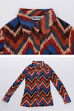 70s Vintage Soft Thin Zigzag Print Earth Tone Collared Disco Shirt by Wayne Rogers Women's Size XS