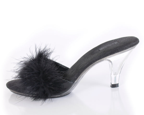 80s Black Maribou Feather and Clear Lucite Pumps Women's Size 6 USA