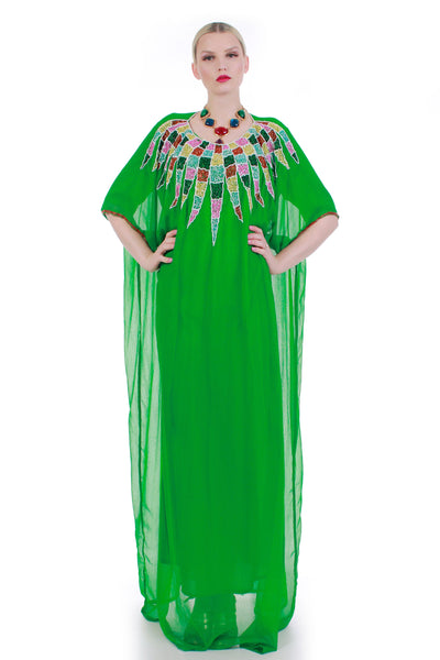 60s 70s Vintage Green Crepe Sheer Silk Chiffon Colorful Beaded Caftan Maxi Dress
