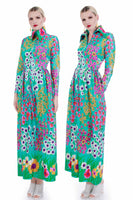 "60s 70s Vtg Neon Dayglo Floral Slippery Nylon Housedress Long Sleeve Maxi Size S 26"" waist"
