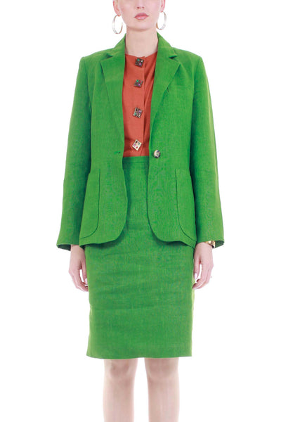 "Vintage Grass Green Linen 2 Piece Tailored Blazer and High Waist Skirt Suit Womens Size M 30"" waist"