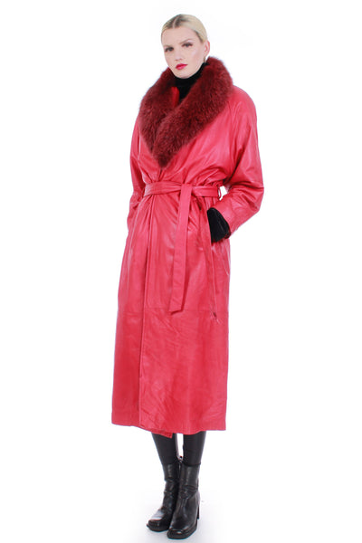 "80s Insulated Red Leather Fur Collar Belted Maxi Wrap Coat Womens Size L 46"" bust"