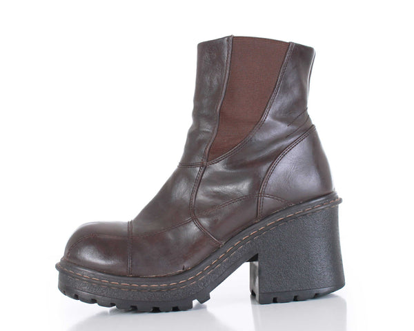 90s Brown Vegan Leather Chunky Platform Block Heel Ankle Boots Women Size US 8.5 - 9 | UK 6.5 - 7 | EUR 39 - 40