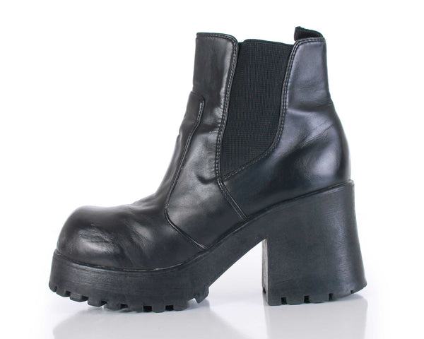 90s Black Vegan Leather Chunky Platform Block Heel Ankle Boots Size US 8.5-9 | UK 6.5-7 | EUR 39-40