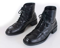 90s Black Leather Lace Up Block Heel Ankle Boots Women's Size US 8 | UK 6 | EUR 38-39