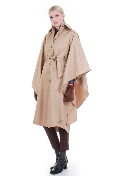 1970s Vintage Belted Cape Raincoat Trench Coat Women Size S
