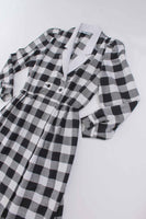 80s Vintage Buffalo Check Black and White Woven Cotton Blend Plaid Collared Shirtdress Size M
