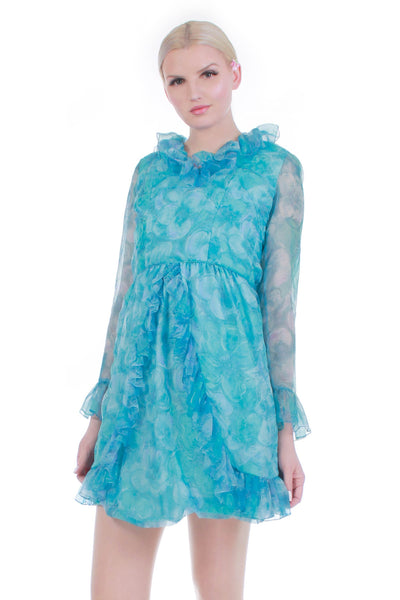 60s Blue Floral Chiffon Double Layer Ruffle Mini Dress 34-25-37