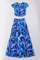 90s 2pc Carabella Sheer Mesh Trippy Swirl Blue White Crop Top and Maxi Skirt Made in the USA Deadstock
