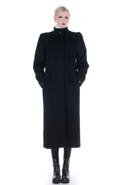 Vintage Puff Shoulder High Neckline Long Black Wool Coat Made in the USA Size M
