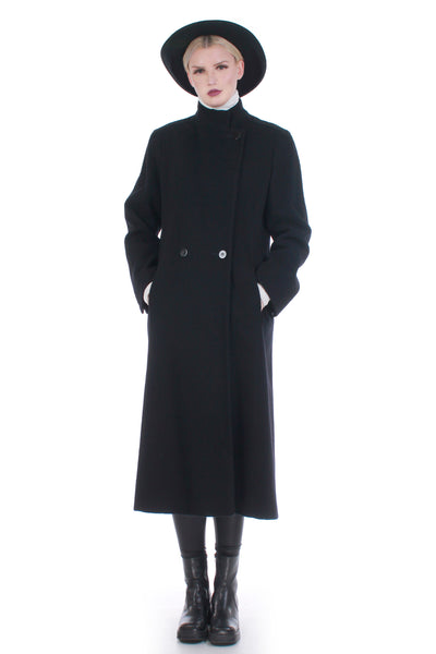 "Vintage Tailored Long Black Wool Coat by Manchester Size M 40""-40""-42"""