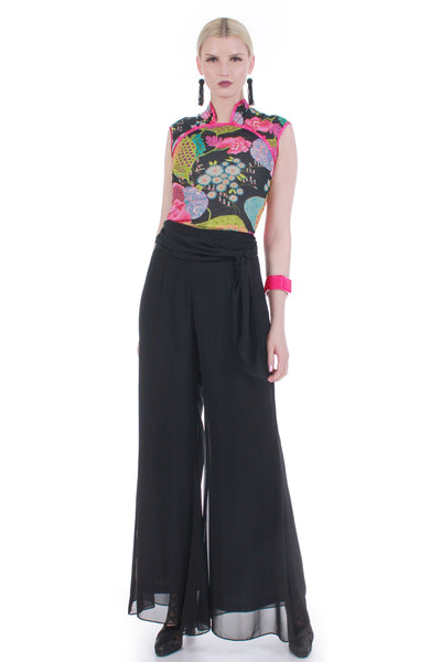 high waist black sheer chiffon pants women medium