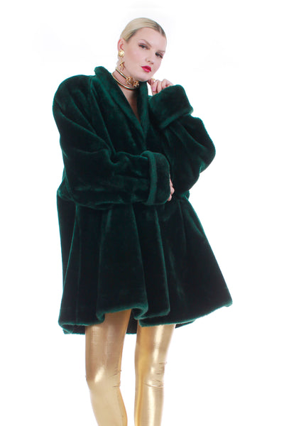 80s Green Faux Fur Swing Coat Plush Soft Overszied Made in the USA Size XL