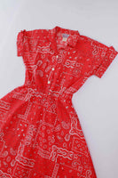 "Vintage California Looks Red Bandana Cotton Fit and Flare Paisley Rockabilly Dress Made in the USA Size XL - 16 - 44"" bust"