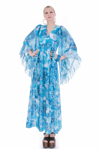 "70s Vintage Blue Floral Angel Sleeve Boho Hippie Summer Caftan Empire Maxi Dress Size S 34"" bust"