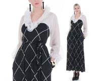 60s Vintage Ruffled Black and White Windowpane Lounge Dress and Bralette Olga USA Size S