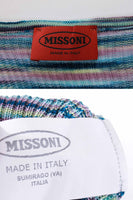 Missoni Italy Blue Space Dyed Striped Knit Slinky Deep Scoop Short Sleeve Top Size XS
