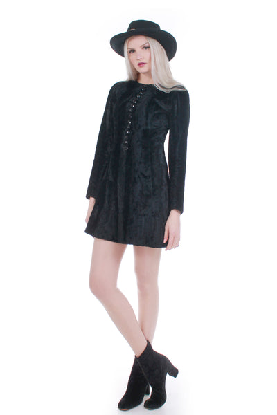 "60s 70s Black Faux Fur Long Sleeve Mini Dress Boho Goth Gypsy Size XS 35""-32""-38"""