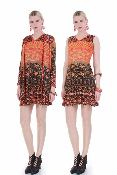 70s 2pc Psychedelic Knit Mini Dress and Top Orange Floral Boho Mod Size XS