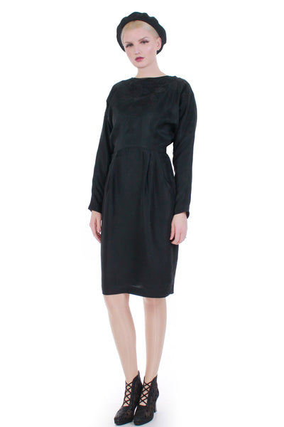 "Embroidered Black Silk Backless Batwing Long Sleeve Midi Vintage Dress S - M - 8 - 27"" waist"