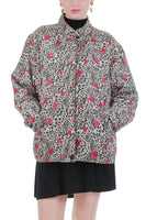 80s Quilted Silk Leopard and Rose Puffy Windbreaker Jacket Size XL
