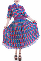 Vintage Diane Freis Geo Patterned Pleated Georgette Blue Pink Abstract Blouson Dress Size M