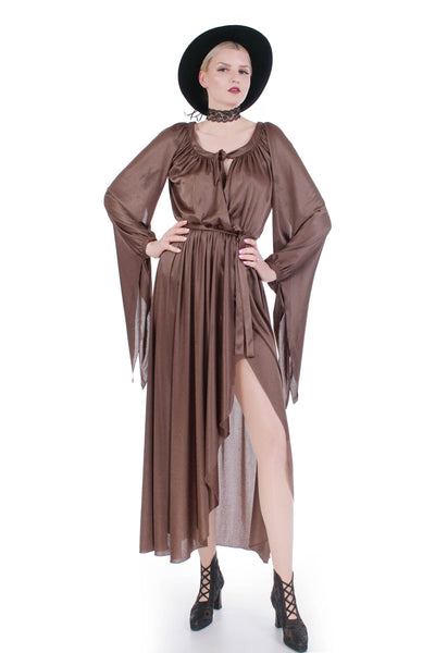 70s Shiny Brown Disco Queen Draped Angel Sleeve Maxi Wrap Dress Size S