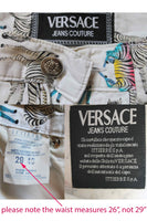 "90s VERSACE Jeans Couture Rainbow Zebra Print High Waist Cotton Pants Made in Italy Size S - 26"" waist"
