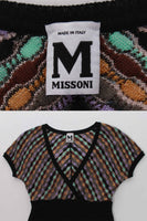 90s MISSONI Italy Zig Zag Knit Mini Cap Sleeve Dress Size XS - Small