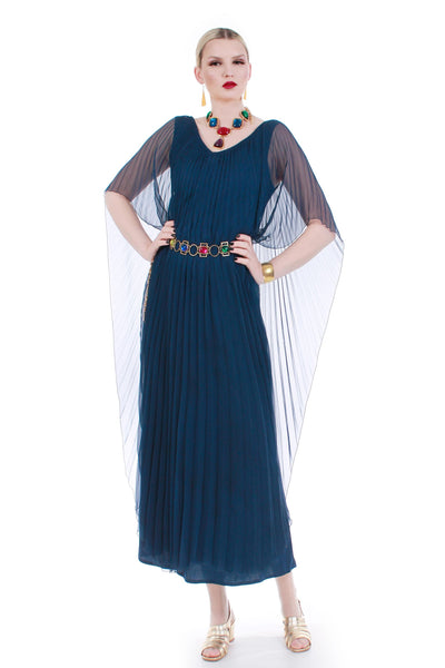 "70s Deco Grecian Sheer Pleated Navy Blue Caftan Maxi Dress Disco Diva Goddess Size Medium-Large 36""-40"" bust 34-40"" waist"