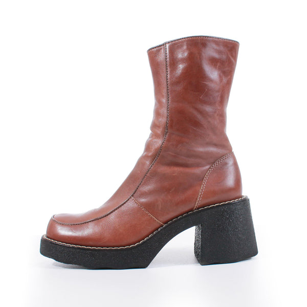 90s Chunky Platform Brown Leather Block Heel Above Ankle Boots Size US 8.5...UK6...EUR39