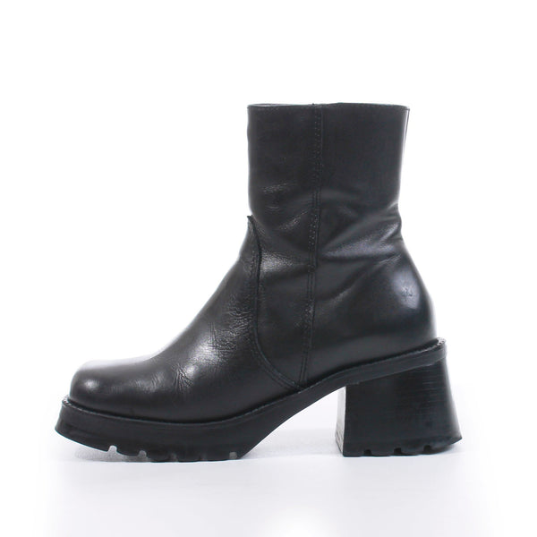 90s Chunky Block Heel Platform Ankle Boots Black Leather Made in Brazil Size US 6.5...UK4.5...EUR36