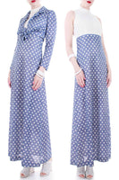 70s 2pc Polka Dot Poly Knit Maxi Dress and Crop Top Dusky Denim Blue and White