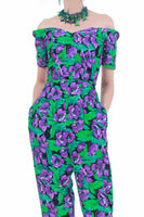 "80s Botanical Green Purple Floral Off Shoulder Tapered Rayon Jumpsuit Size S 26"" waist"