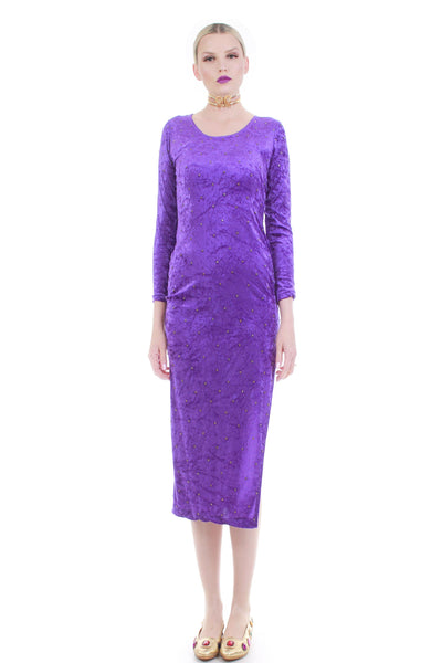 "90s Studded Crushed Velvet Purple Gold Long Sleeve Bodycon Midi Dress Size Small 34""-28""-34"""