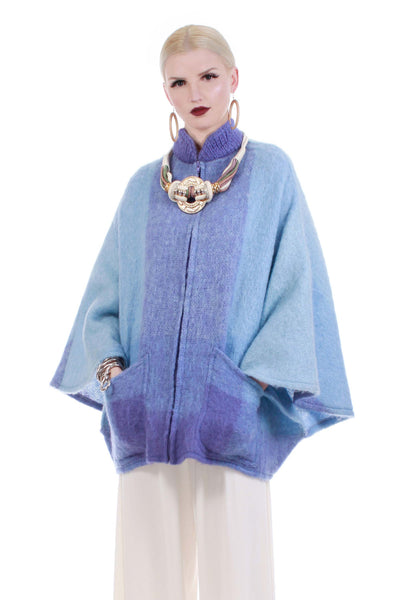 Vintage Mohair Blue Lavender Donegal Designs Batwing Cape Coat Shaggy Ombre Made in Ireland One Size Fits Most OSFM