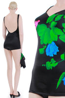 "Deadstock Vintage ROXANNE Skirted Swimsuit w Matching Skirt 2pc Set Black Neon Floral NWT Women Size Small...34 C...24-27"" waist skirt"