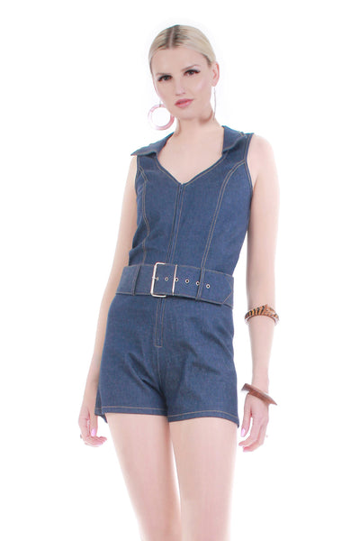 Vintage Belted Denim Romper 90s does 70s