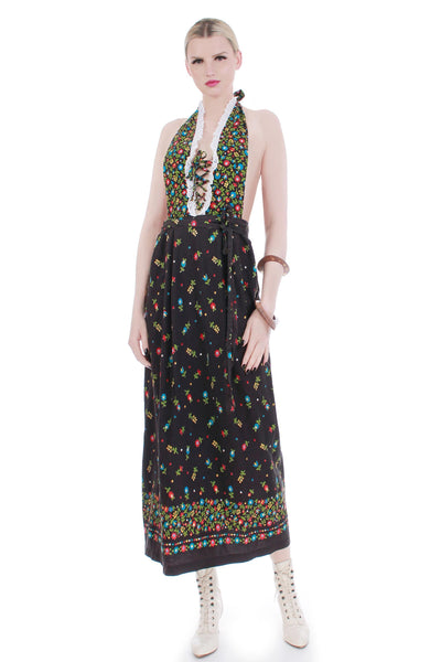 70s vintage floral cotton apron maxi dress women