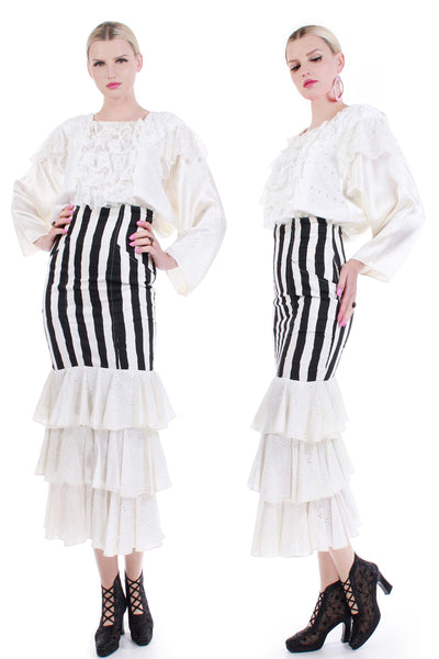 80s French Victorian Punk 2pc Ruffle Black White Striped High Waist Skirt and Satin Batwing Blouse