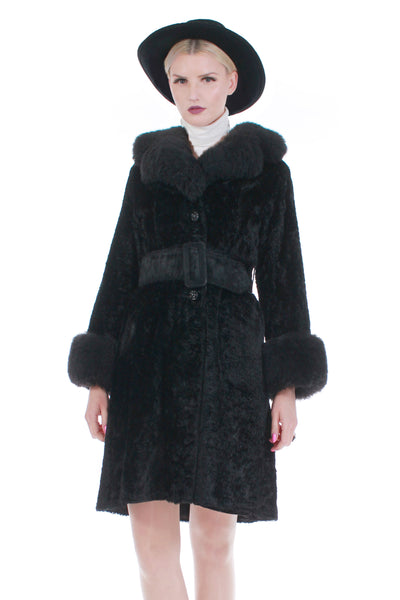 60s Black Faux Fur Shearling Collar and Cuffs Belted Princess Coat