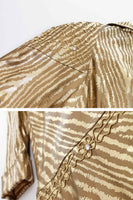 "80s Gold Lamé Metallic Swing Jacket Shiny Lightweight Animal Print Coat Women's Size XL...50"" bust...68""waist...120"" sweep"