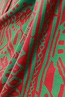 "Iconic FRANKIE WELCH The Frankie Dress Red Green Print Wrap Maxi Collectible Virginia Designer Vtg Women's Size Medium 38"" bust free waist"