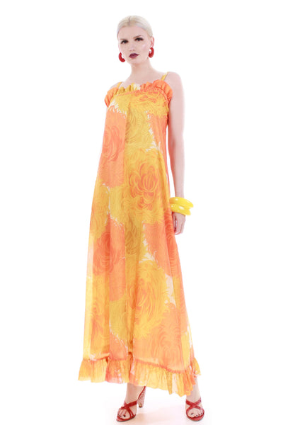60s MALIA Honolulu Chrysanthemum Yellow Orange Crepe de Chine MuuMuu Maxi Dress