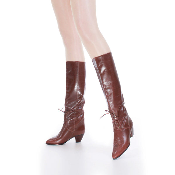 Vintage Shiny Perforated Brown Leather Riding Boots Size US 6...UK4...EUR36