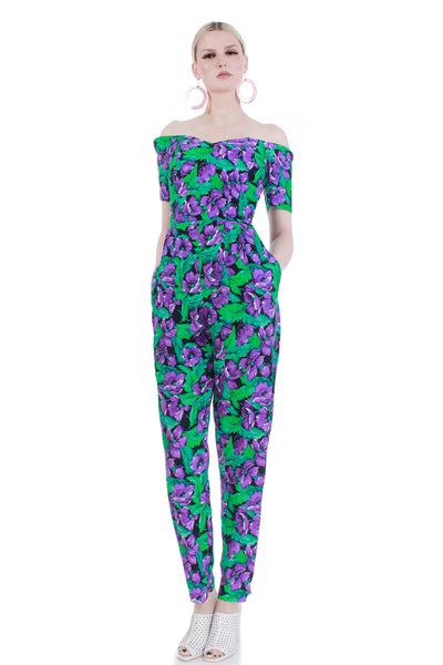80s vintage floral jumpsuit women medium