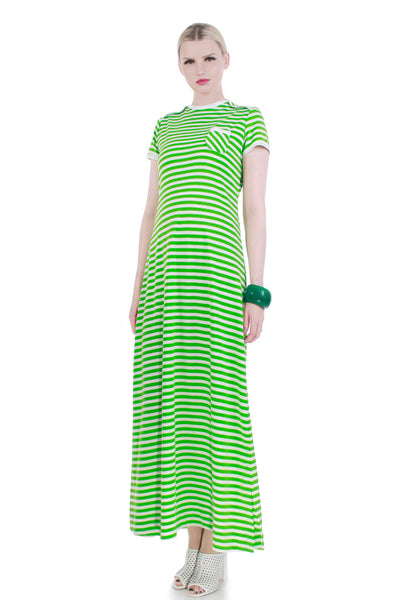 70s vintage green white striped knit maxi dress women medium