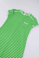 "60s 70s Striped Double Knit Lime Green White T-Shirt Style Maxi Dress Women's Size Medium 36""-34""-41"""