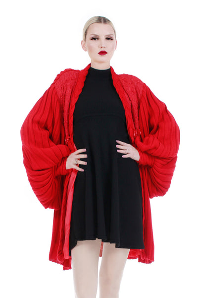 "80s Pleated Bishop Sleeve Red Knit Batwing Cardigan Sweater Jacket Beaded with Lace Women Size XL...46"" free bust"